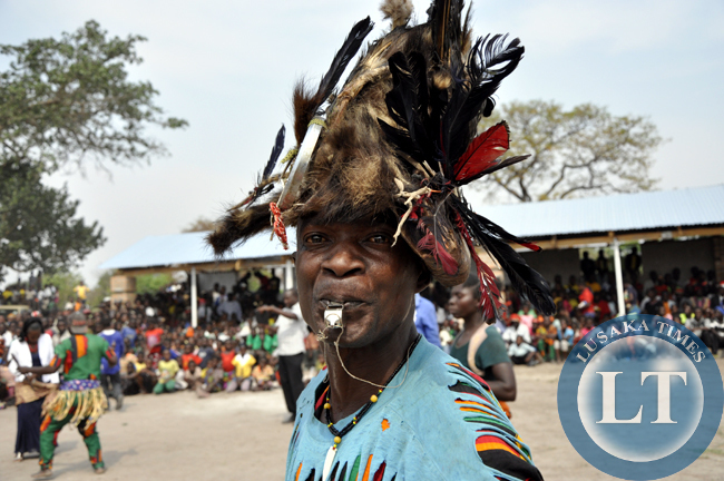 An unidentified traditional entertainer captured in action during the Mukulapembe Traditional ceremony in Luwingu recently