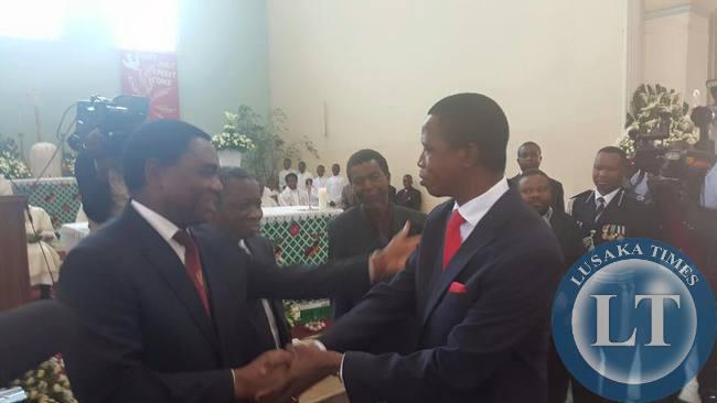 President Edgar Lungu greets Hakainde Hichilema