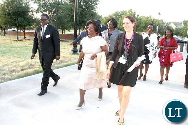 First Lady flanked by Zambia's Ambassador to the United States of America Palan Mulonda arrives at  George W. Bush Presidential centre for Dinner hosted for the Global Women's Network summit  Participants by the George and Laura bush in Dallas, Texas on  Monday, September 21,2015 -Pictures by THOMAS NSAMA/ STATE HOUSE