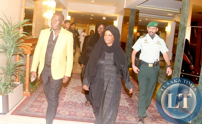 First Lady Esther Lungu flanked by Zambia's Ambassador to Saudi Arabia Ibrahim Mumba on arrival at the Conference Palace Hotel in Jeddah, Saudi Arabia for the discussion with the the King Abdulla University for Science and Technology Authorities on the scholarship for Zambian's on Saturday, October 17,2015 -Picture by THOMAS NSAMA
