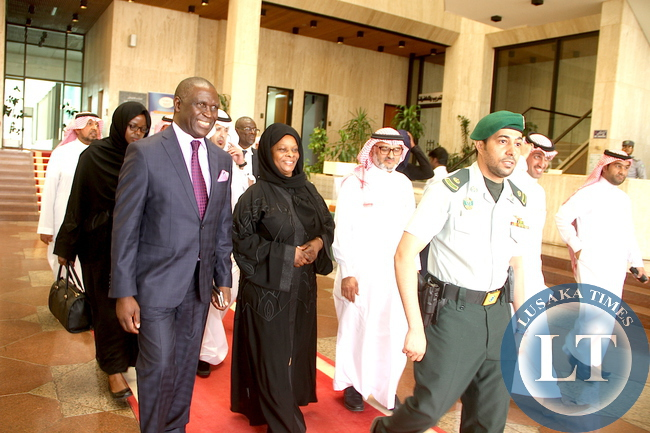 First Lady Esther Lungu with Department for Saudi Fund for Development representative Engineer Hassan Al Attass shortly before a closed door meeting on the assistance to Women and Children in Zambia in Riyadh, Saudi Arabia on Wednesday,October 14,2015 -Picture by THOMAS NSAMA