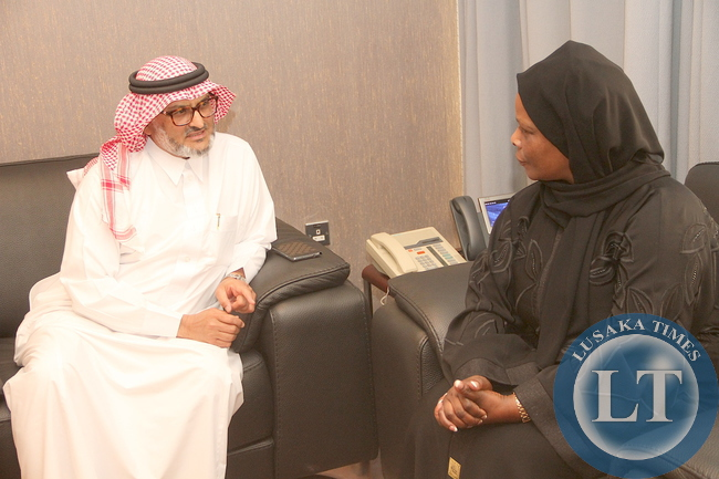 First Lady Esther Lungu with Zambia's Ambassador to Saudi Arabia being-seen off by Department for Saudi Fund for Development representative Engineer Hassan Al Attass after a closed door meeting on the assistance to Women and Children in Zambia in Riyadh, Saudi Arabia on Wednesday,October 14,2015 -Picture by THOMAS NSAMA