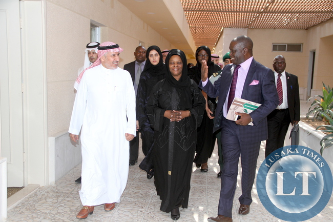 First Lady Esther Lungu being seen-off by Department for King Salma Relief and Humanitarian Organisation Advisor Royal Court Supervisor General Dr Abdullah A. Al Rabeeah (L) after a meeting on assistance to Women and Children in Zambia and on sharing Knowledge in the field of operation. This was on Wednesday, October 14, 2015 in Riyadh, Saudi Arabia -Picture by THOMAS NSAMA