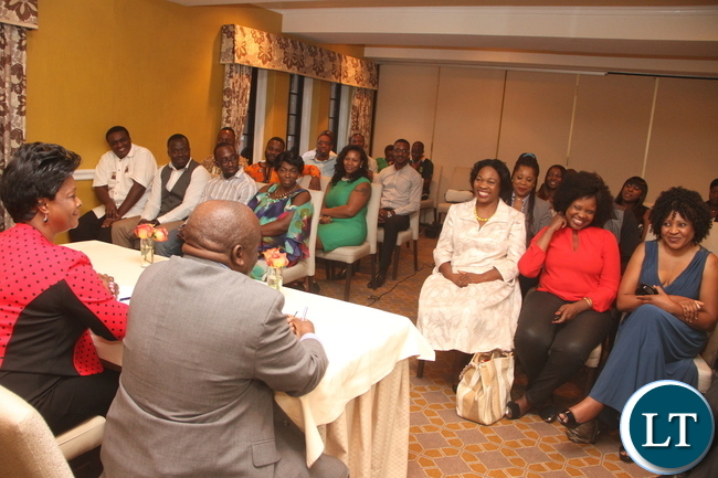 First Lady Esther Lungu during  a meeting with Zambian's living in Dallas at Rosewood Mansion On Turtle Creek Hotel in Dallas, Texas on Wednesday evening, September 23, 2015 -Picture by THOMAS NSAMA