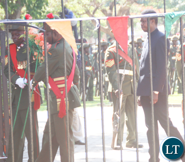 President Lungu walking to lay wreaths