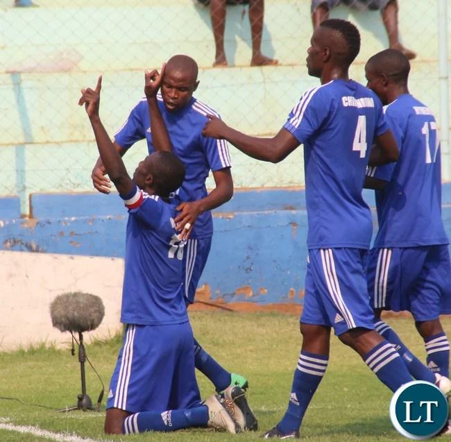 Nkwazi's Chipungu Musukuma celebrating his goal.