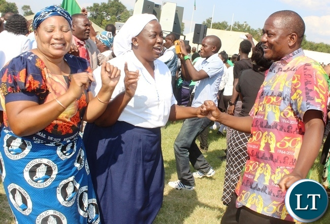 Central Province Minister Davies Chisopa with his wife (centre) during the day of prayers in Kabwe