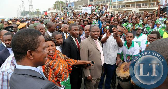 President Edgar Chagwa Lungu being entertained by PF supporters at Kenneth Kaunda International Airport on Friday, 2nd October, 2015, upon arrival from New York, USA where he had gone to attend the 70th United Nations General Assembly. Picture by Eddie Mwanaleza/State House