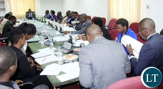 Members of the Expanded Estimates Committee listening to   the submission by CSO-SUN