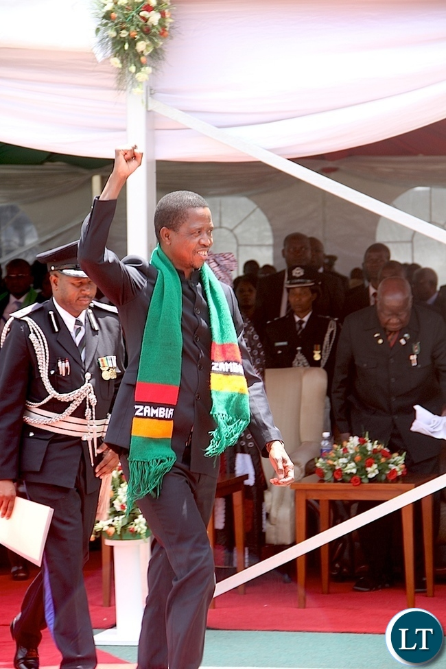 President Lungu heads to deliver his speech during Zambia's 51st Independence anniversary Celebration at Heroes Stadium in Lusaka on Saturday, October 25,2015 -Pictures  by   THOMAS NSAMA
