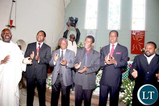 From (L-R) Fr Chilinda, UPND president Hakainde Hichilema, Michael Mulongoti , Edwin Sakala , President Edgar Chagwa Lungu and Eric Chanda