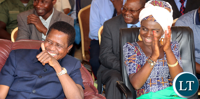 FILE: President Edgar Lungu with Dr Evelyn Nguleka ZNFU President  during the  Launched the Electronic Voucher System for the Farmer input Programme in Choma Mbabala constituency on Monday 12-10-2015. Picture  by Eddie Mwanaleza/ Statehouse.