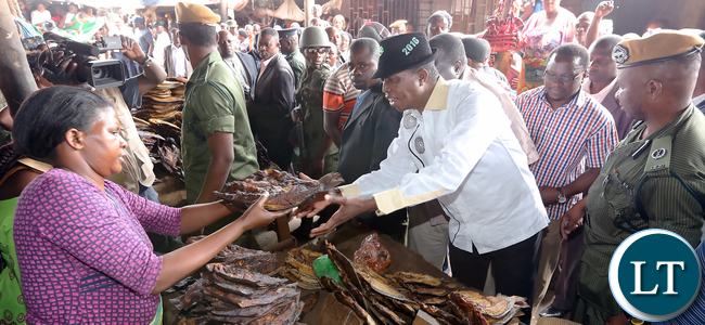 Prsident Lungu Buys dry Fish at Chisokone Market in Kitwe