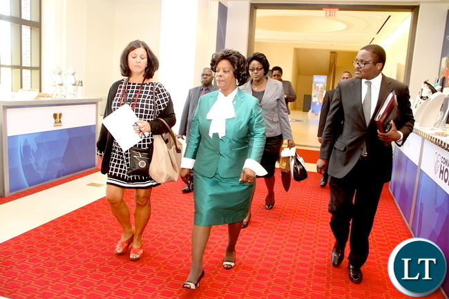 First Lady Esther Lungu  with  Achieving Optimal Health  Conference Founder  Therese Burch  and Zambia's Ambassador to the United States of America Palan Mulonda  on arrival at George W. Bush Presidential centre  for the Technology, Innovation Training  and the First Ladies roundtable : improving maternal and Child Health in Africa in Dallas , Texas  on Monday, September 21,2015  -Picture by THOMAS NSAMA