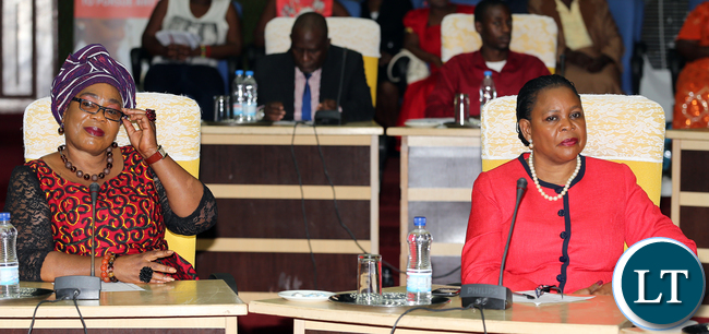 Dr Mauren Mwanawasa with Ms Vera Chiluba Tembo at Mulungushi confrence Centre for the National Women Economic Empowerment Expo, which was Promoting Young Women enterpreneurs as a Change agents for Natioanl development . Picture By Eddie Mwanaleza/ Statehouse. 13-10-2015.