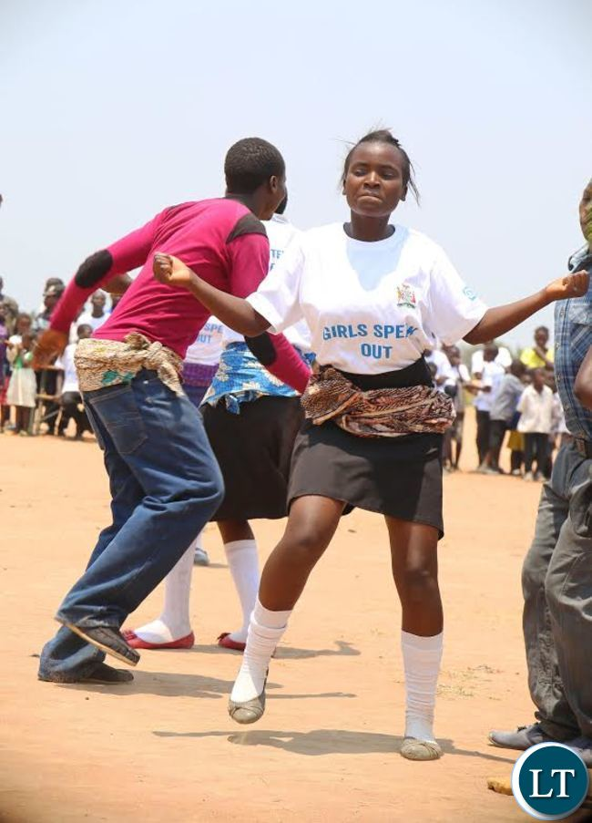 CHILDREN in Luapula joined the rest of the continent in commemorating the day of an African Girl Child. Here, pupils from Mabumba Secondary School dancing during the event at Mibenge School in Mansa District
