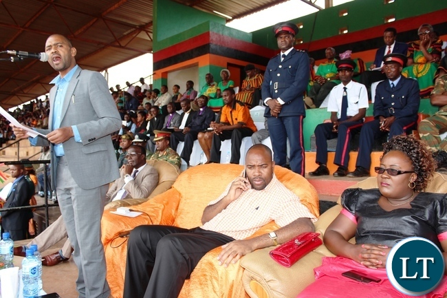 YOUTH and Sport Minister, Vincent Mwale, delivers his speech during the 51st Independence celebrations held at David Kaunda stadium in Chipata