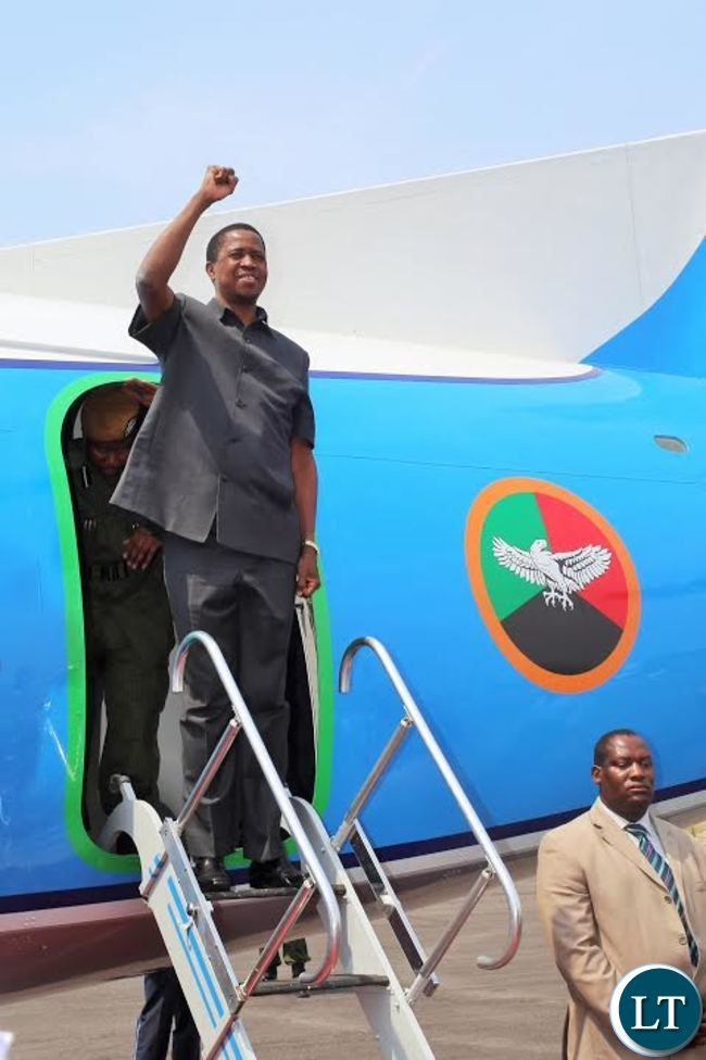 President Edgar lungu has arrived in Mansa for a two day official tour. Here the president on arrival at Mansa airport