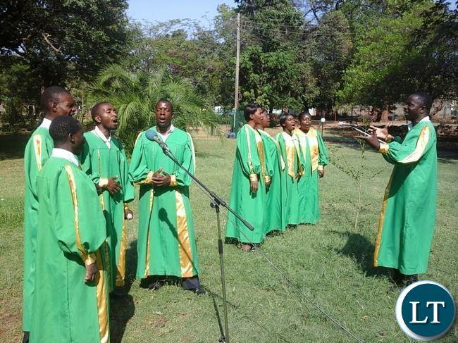 Dambwa Main Seventh day Adventist Church Choir members singing during the National prayer and fasting programme at Mukuni Park