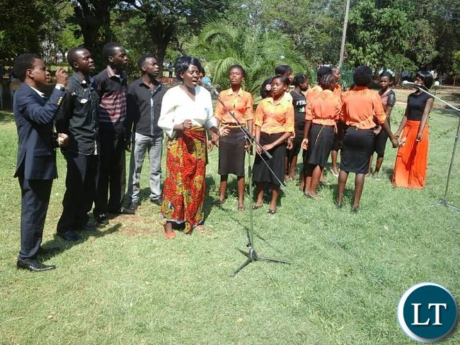 God's Kingdom International Praise Team singing during the National Prayer and Fasting day programme at Mukuni Park in Livingstone