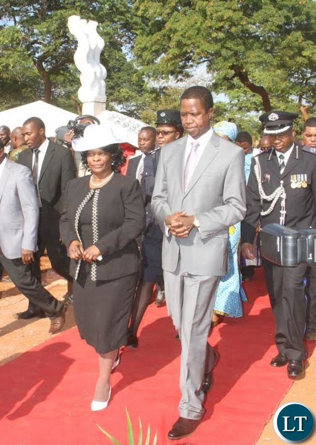 President Lungu with First Lady Esther Lungu during the Ground breaking ceremony for the New Cathedral and Interdenominational Thanks Giving Church Service at woodlands forest reverse in Lusaka on Sunday, October 25,2015 -Pictures by THOMAS NSAMA