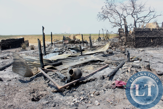 Imuba Village of Katongo Lower area in Mongu burnt to ashes