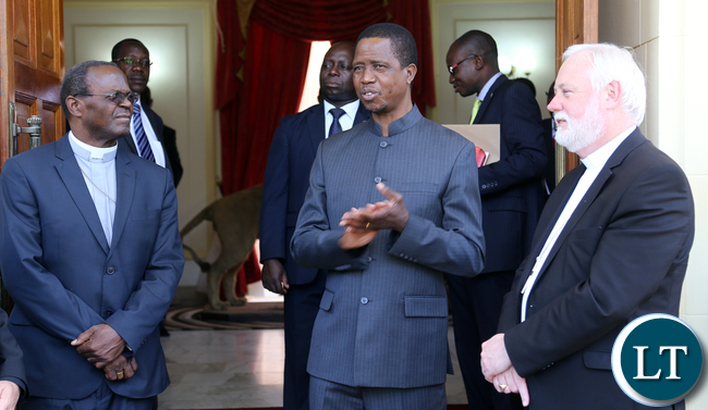 President Edgar Lungu Meets Archbishop Paul Richard Gallagher as Secretary for Relations with States – the third highest position in the Vatican and Archbishop of Lusaka Telephone Mpundu at State house in Lusaka on Monday 9th November 2015- Picture By Eddie Mwanaleza./State house.