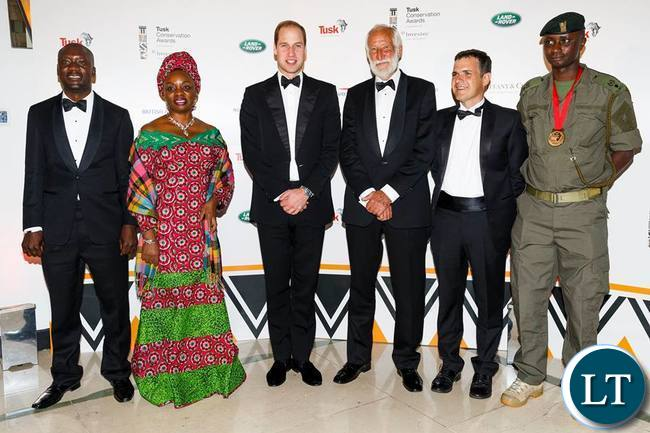 HRH the Duke of Cambridge with all the finalists. From left: Cosmas Mumba, Dr Mary Molokwa, HRH Prince William, Garth Owen-Smith, Dr Emmanuel De Meroda, Edward Ndirita. Photo: Tusk Trust
