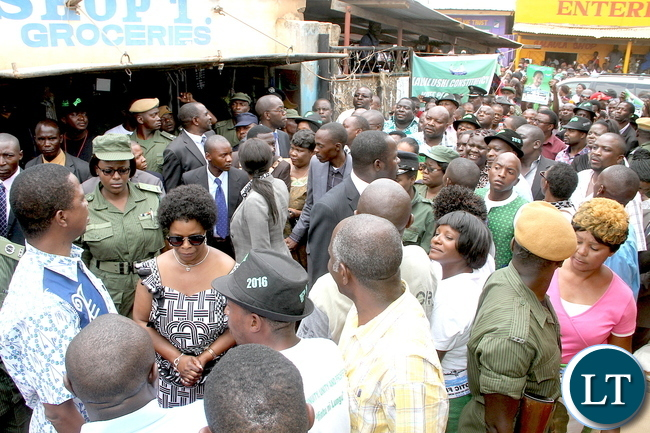 President Lungu and First Lady Esther Lungu on arrival during a tour of Kalulushi Market on the Copperbelt on Monday, November 2,2015 -Pictures by THOMAS NSAMA