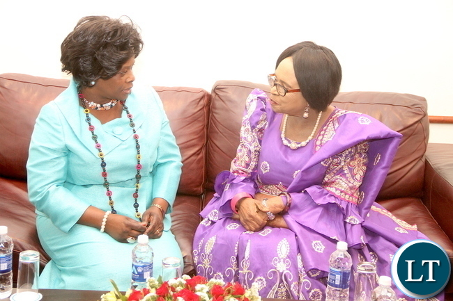First Lady Esther Lungu with Mama Kankasa during the launch of Mama Kankasa Health Voucher at Pamodzhi Hotel on Thursday, November 5,2015 -Picture by THOMAS NSAMA