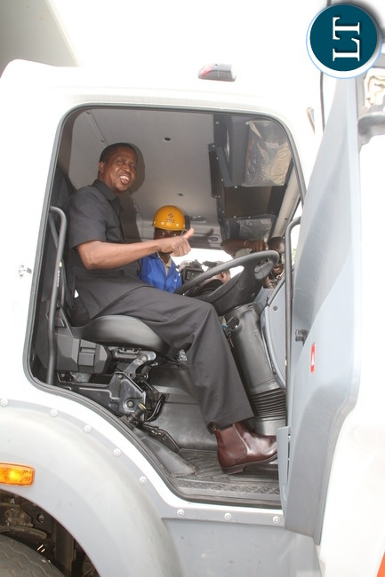 President Edgar Lungu testing the equipment to be used.