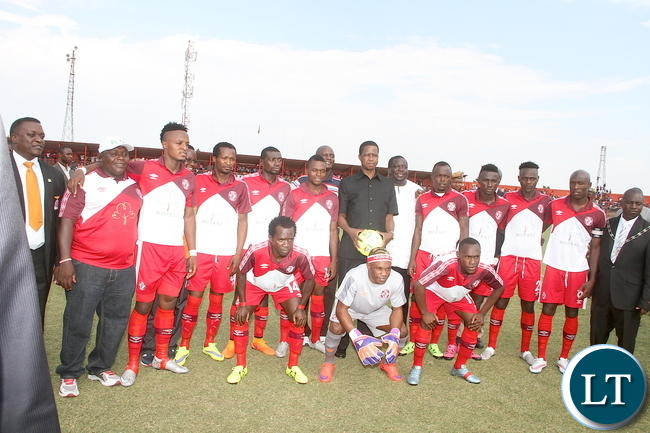 President Lungu pose for a photograph with Nkana Soccer team shortly before the match with Might Mufulira Wanderers in Kitwe on Sunday, November 1,2015 -Picture by THOMAS NSAMA