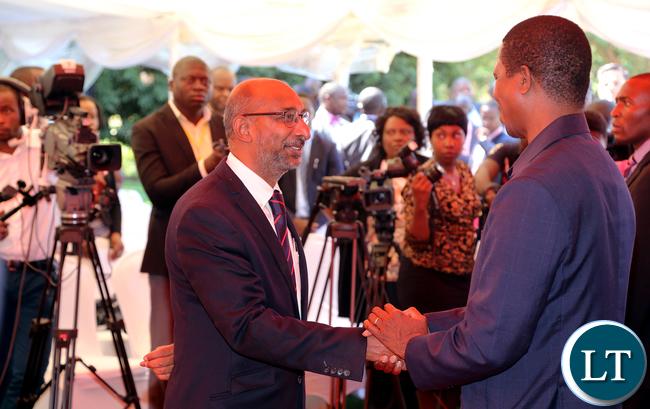 resident Edgar Lungu talks to Indian High Commissioner To Zambia H.E. Mr. Gaddam Dharmendra