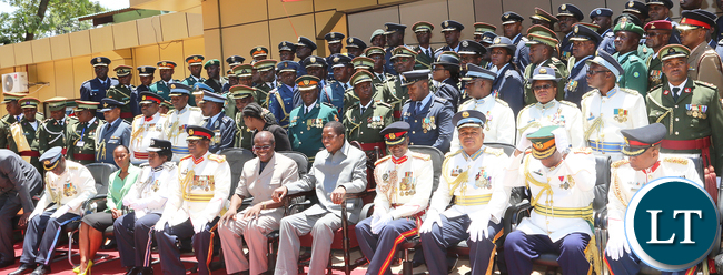 President Lungu Pose with Officers Staff College
