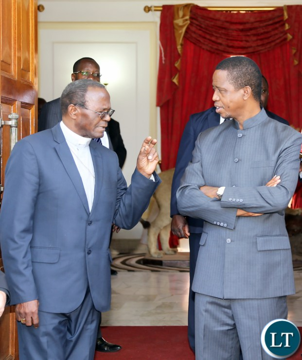 President Edgar Lungu Meets Archbishop of Lusaka Telephone Mpundu at State house in Lusaka on Monday 9th November 2015- Picture By Eddie Mwanaleza./State house.