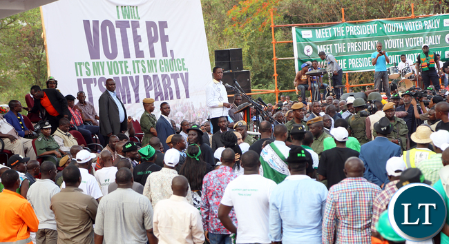 President Lungu address arally at Freedom Park in KItwe