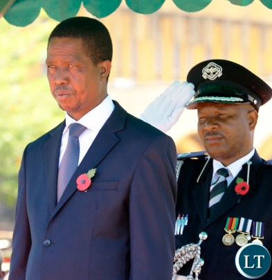 President Lungu takes Salute at the Cenotaph