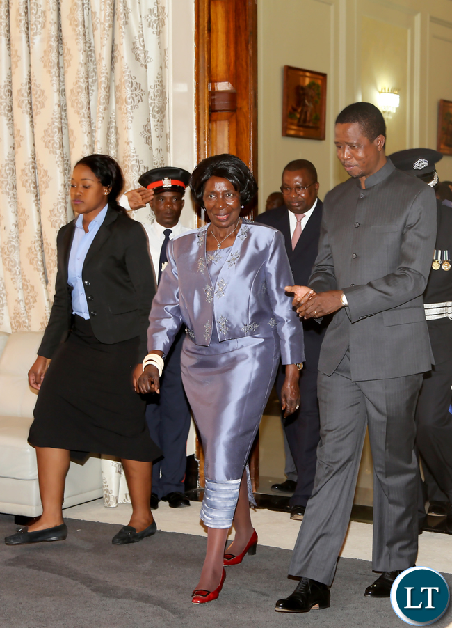 President Lungu with Vice  President Inonge Wina at State house