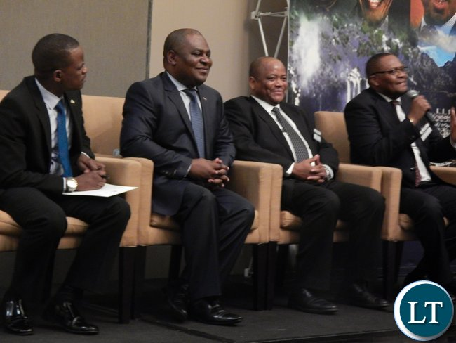 Mr. Emmanuel Mwamba speaks on a panel discussion with ZSABC chairman Mr. Charles Kalima, energy expert Mr. Johnstone Chikwanda and Massmart Chairman Mr. Kuseni Dlamini at the launch of the Zambia-South Africa Business Council in Johannesburg