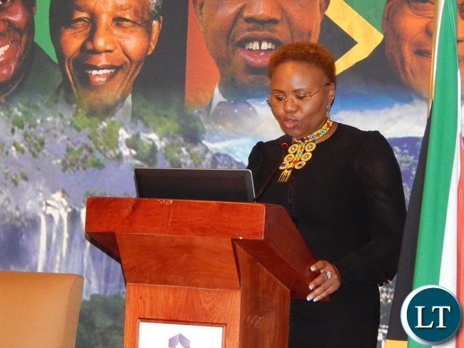 South Africa's Minister for Small Business Development Ms. Lindiwe Zulu addresses the audience at the launch of the Zambia-South Africa Business Council in Johannesburg on Friday, 30th October, 2015.