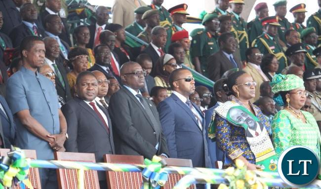 President lungu with other invited guests follow proceedings during the Inauguration ceremony of the newly elected Tanzanian president Dr John Pombe Magufuli at the Uhuru stadium in Dar es salaam, Tanzania.