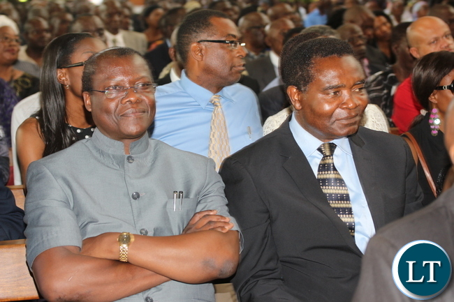 Minister of justice Ngosa Simbiyakula and HP President Party General Godfrey Miyanda