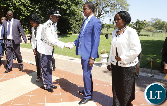 President Lungu Greeta Eugene Sibote after the Ceremony