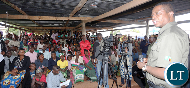 President Edgar Lungu addressing Kawambwa Tea plantation Workers at the Factory - PICTURE BY EDDIE MWANALEZA/STATEHOUSE.