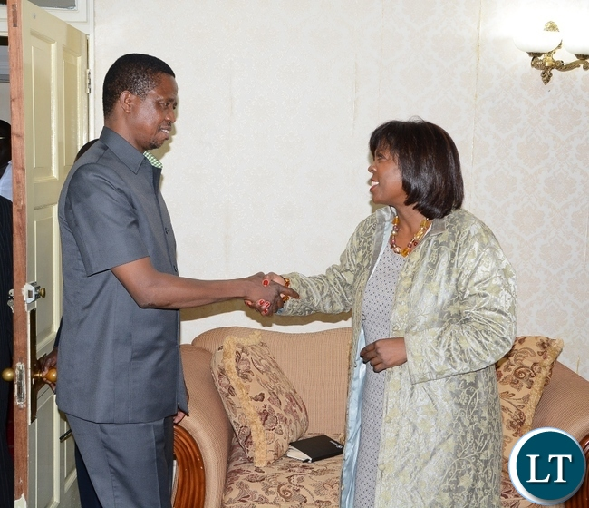 President Edgar Lungu welcomes World Food Programme Executive Director Ertharin Cousin at State House