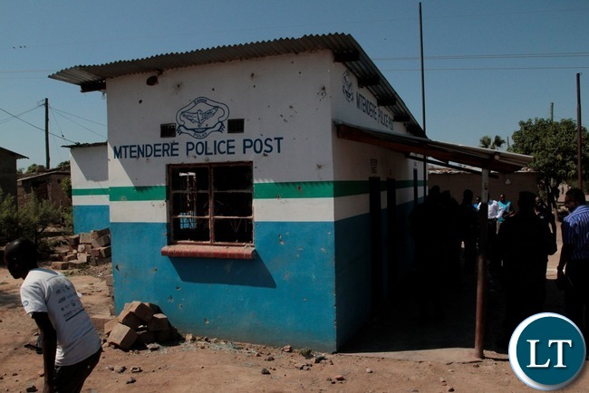 Mtendere Police Post in Chawama Compound Kafue that was damaged by People in the area.