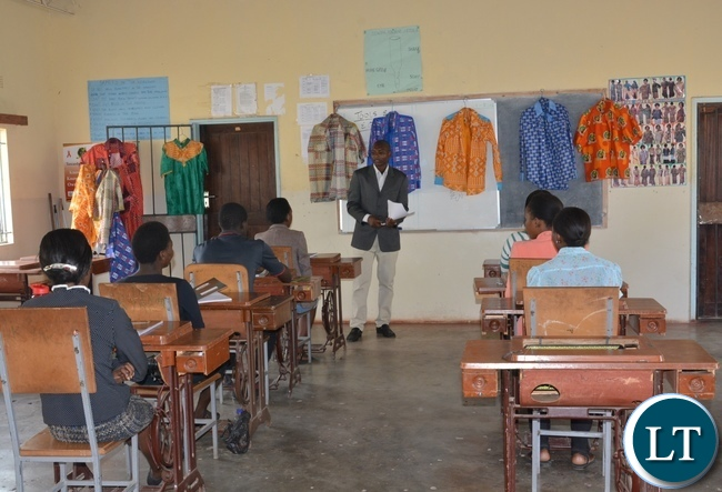 A class room of Student studying tailoring and design at the Lusaka Youth Resource Center