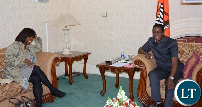 President Edgar Lungu having alight moment with World Food Programme Executive Director Ertharin Cousin at State House during a courtesy call