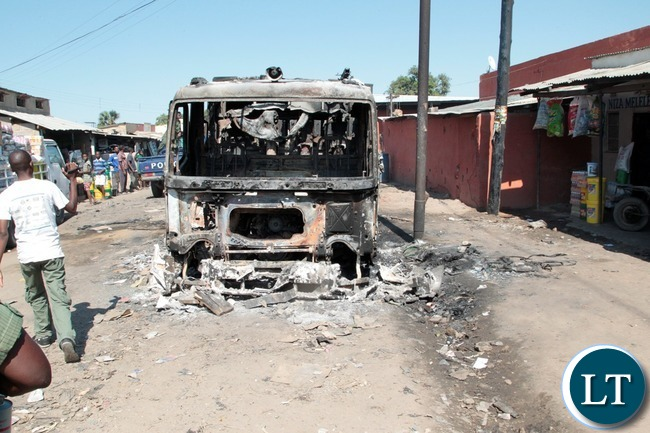 A fire tender that got burnt at Lumumba Police Post in Chawama Compound Kafue