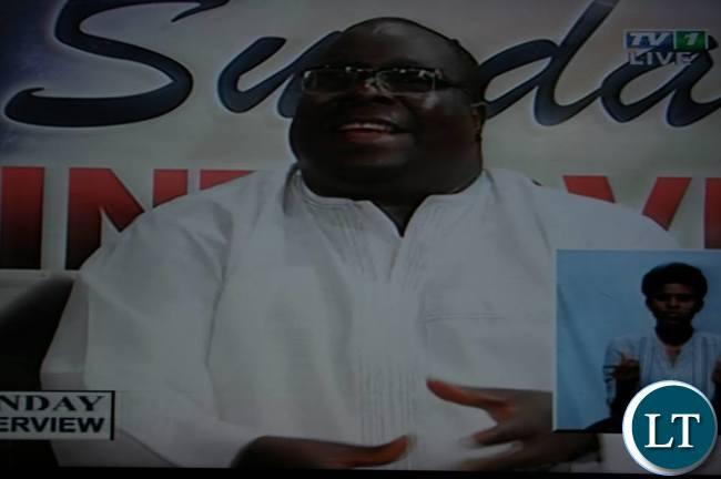 Chishimba Kambwili stresses a point on Sunday Interview
